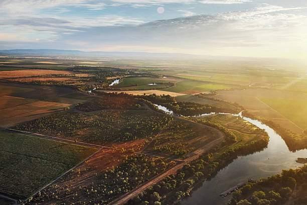Aerial view of Sacramento river near Sacramento, California.